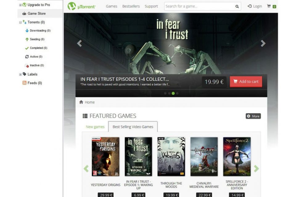 uTorrent пуска собствен магазин за игри